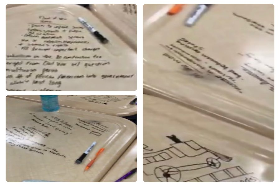 Students' desks are transformed into whiteboards in Jennifer Hartwig's classroom. Writing on desks invites students to