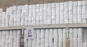 Hy-Vee, like many other grocery stores, began selling individually wrapped toilet paper once it was back in stock.